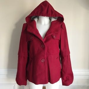 ELEVENSES by Anthropologie red Barbette Peacoat